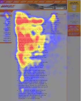 Mappatura dei movimenti degli occhi di un utente. Le aree più guardate in rosso, seguite da giallo e blu.